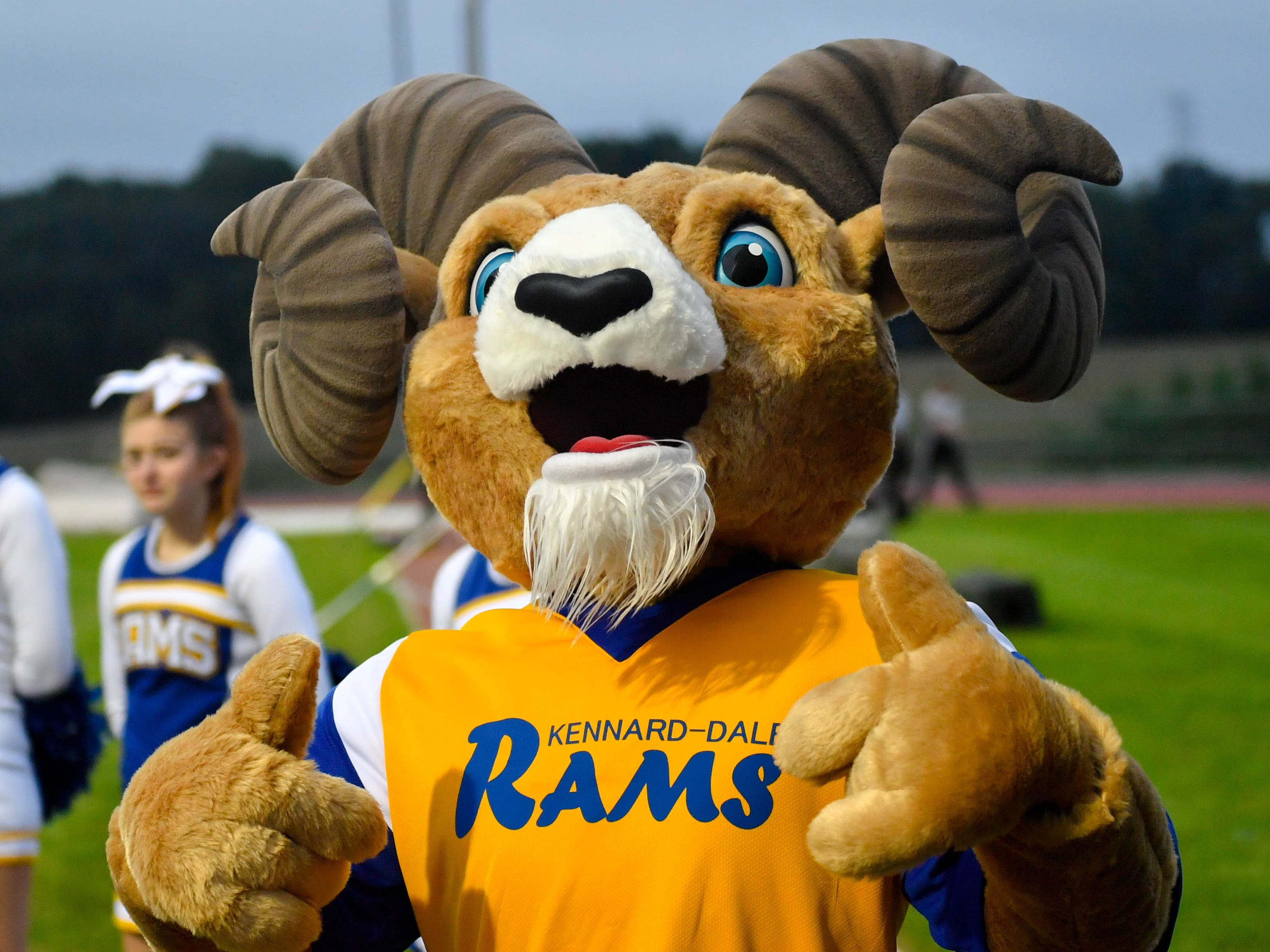 Kennard-Dale's mascot kept spirits high during their Division II football game against York Suburban, Friday, September 21, 2018. The York Suburban Trojans beat the Kennard-Dale Rams 31-25.