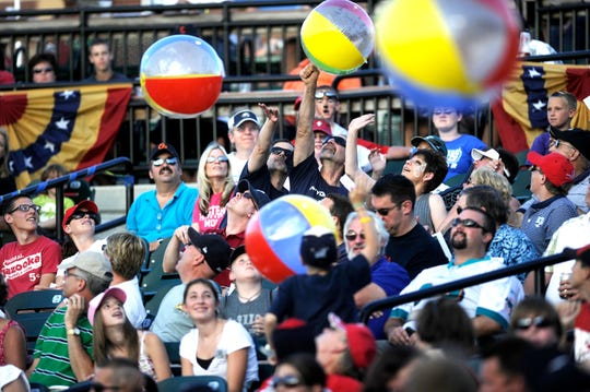 Fans at the 2011 Atlantic League All-Star game hit beach balls in the stands July 13, 2011. The game sold out with a crowd of 8,053.