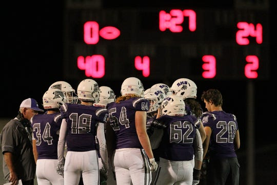 Shasta calls for a timeout late in the 2nd quarter.  Chico won the game, 37-0, at Shasta High on Friday, Sept. 21.