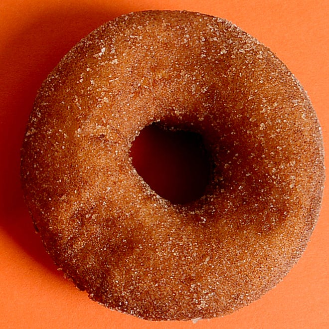 An apple cider doughnut made by E.Z. Orchards.