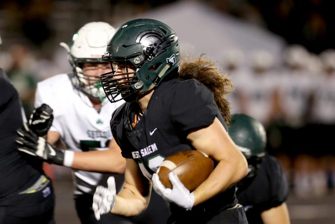 West Salem's Jordan Whitaker (42) rushes in the first half of the Sheldon vs. West Salem football game at West Salem High School on Friday, Sep. 21, 2018.