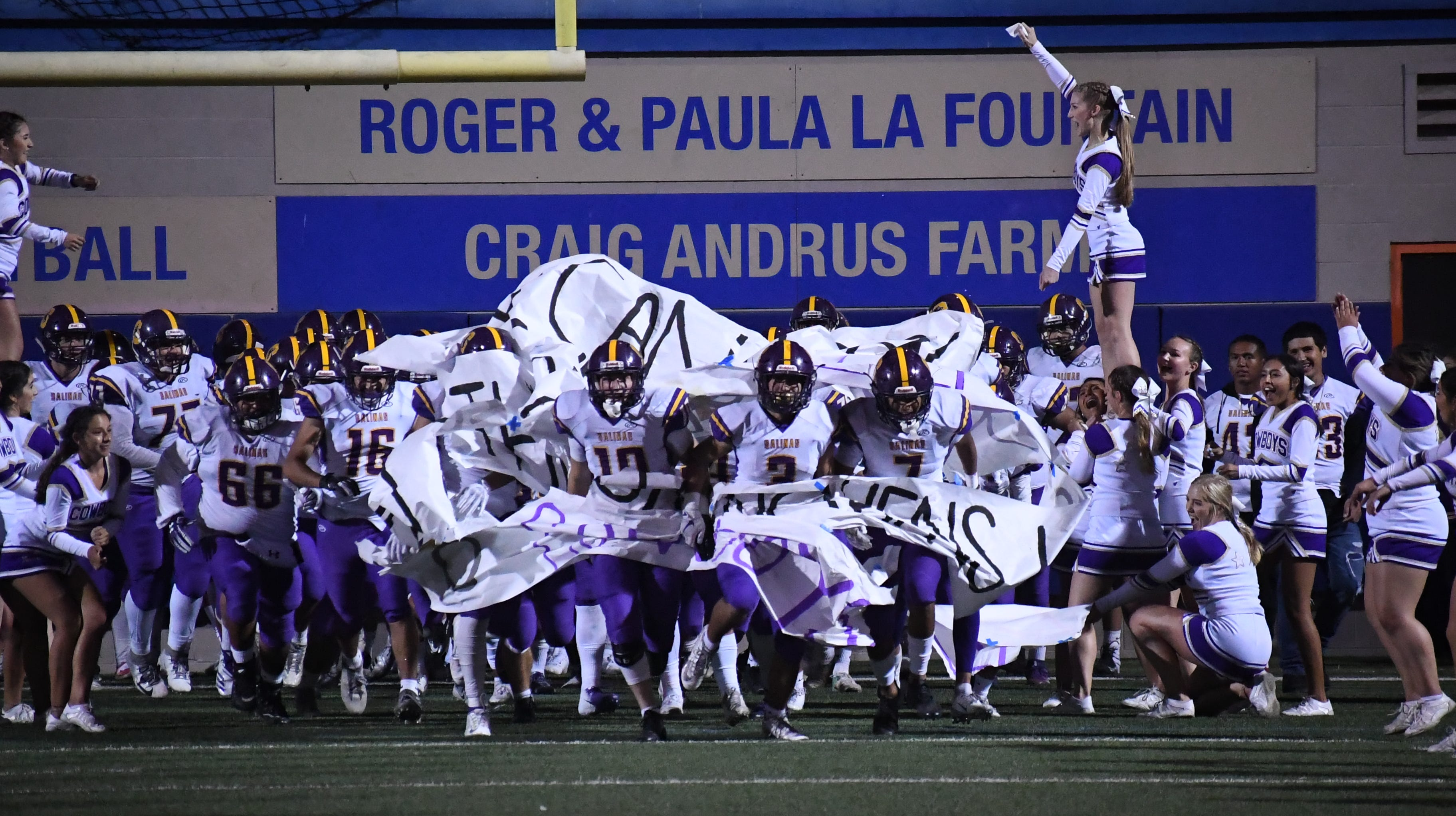 The Salinas Cowboys return to the field in the second half of Friday's win over Palma.