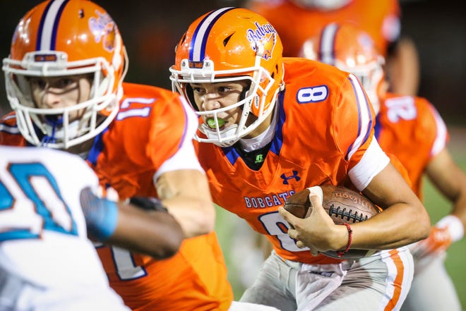 Central's Malachi Brown runs the ball against Pebble Hills in the first half Friday, Sept. 21, 2018, at San Angelo Stadium.