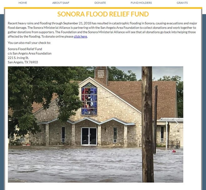 A relief fund has been established by the San Angelo Area Foundation after flooding there Sept. 21, 2018 caused damage to homes and businesses.