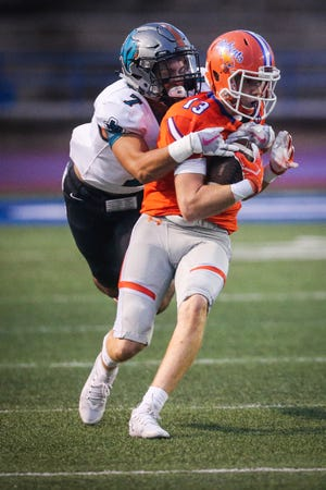 Central's Philip Lupton is tackled by Pebble Hills defense Friday, Sept. 21, 2018, at San Angelo Stadium.