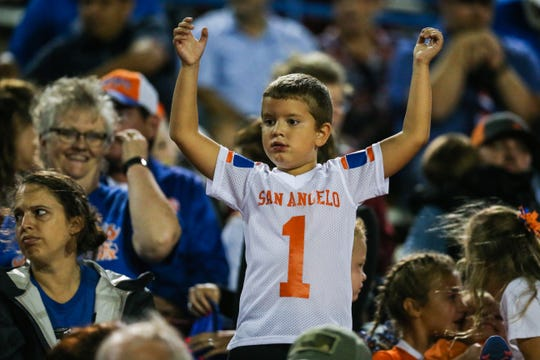 Central fan cheers on the team during the game against Pebble Hills Friday, Sept. 21, 2018, at San Angelo Stadium.