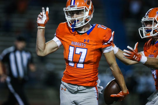 Central's Tanner Dabbert celebrates a catch against Pebble Hills Friday, Sept. 21, 2018, at San Angelo Stadium.