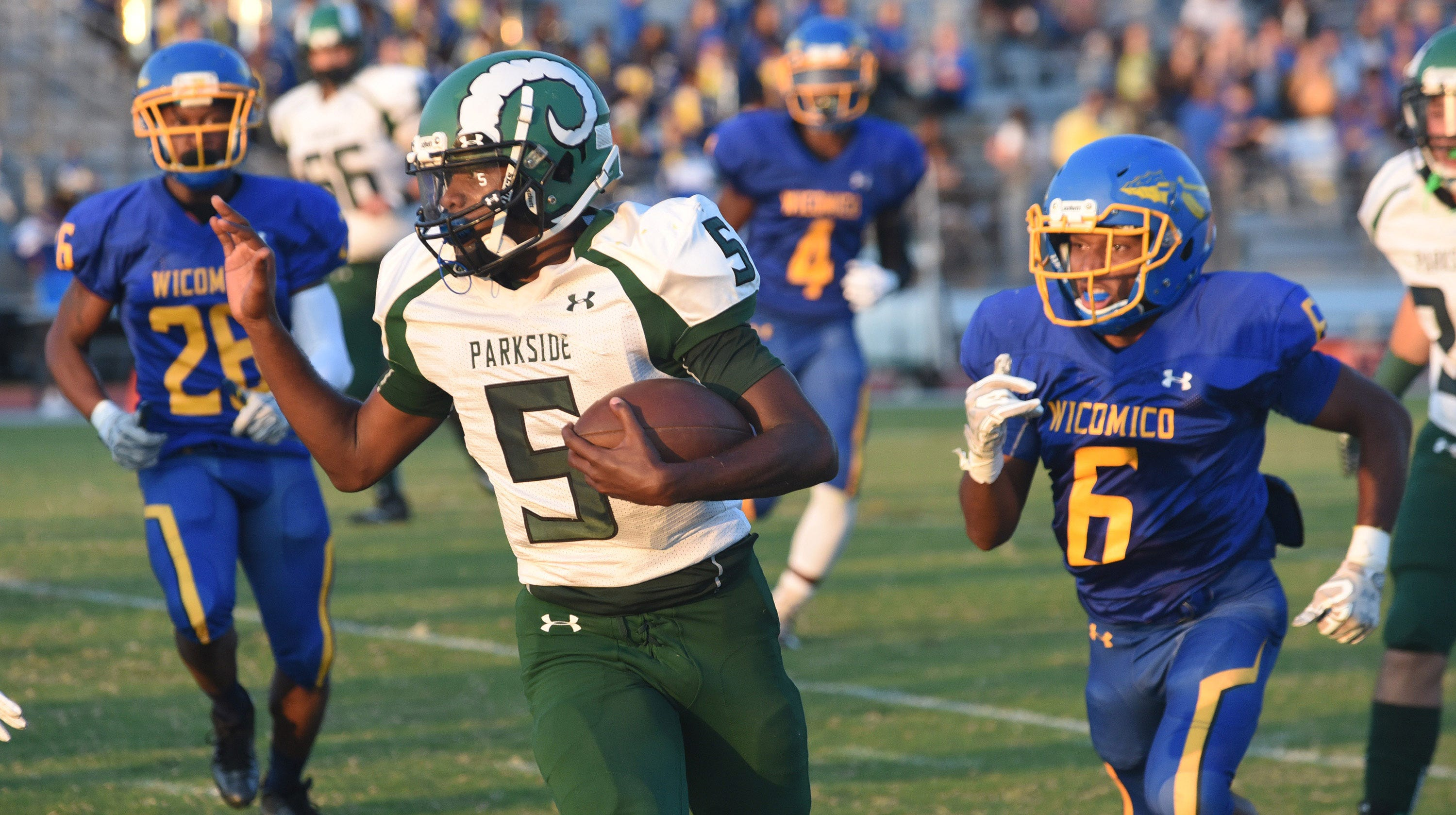 Parkside's Marcus Yarns runs the ball during first half action at the Parkside/Wicomico High School Football game Friday, Sept. 21, 2018 at County Stadium. (Photo by Todd Dudek for The Daily Times)
