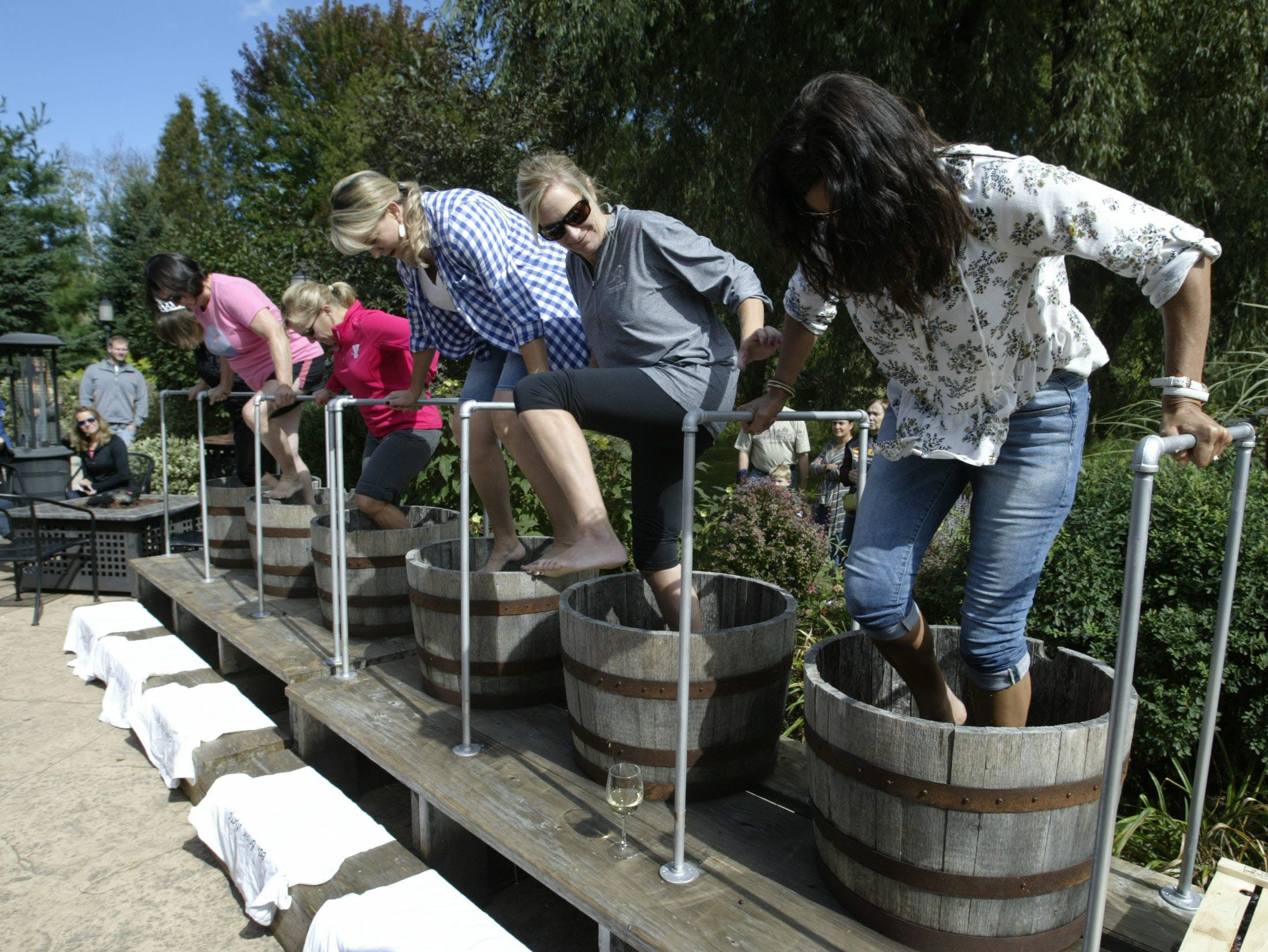 Contestants stomp away at grapes at the Harvest Festival & Grape Stomp at The Blind Horse Restaurant and Winery, Saturday, September 22, 2018, in Kohler, Wis.