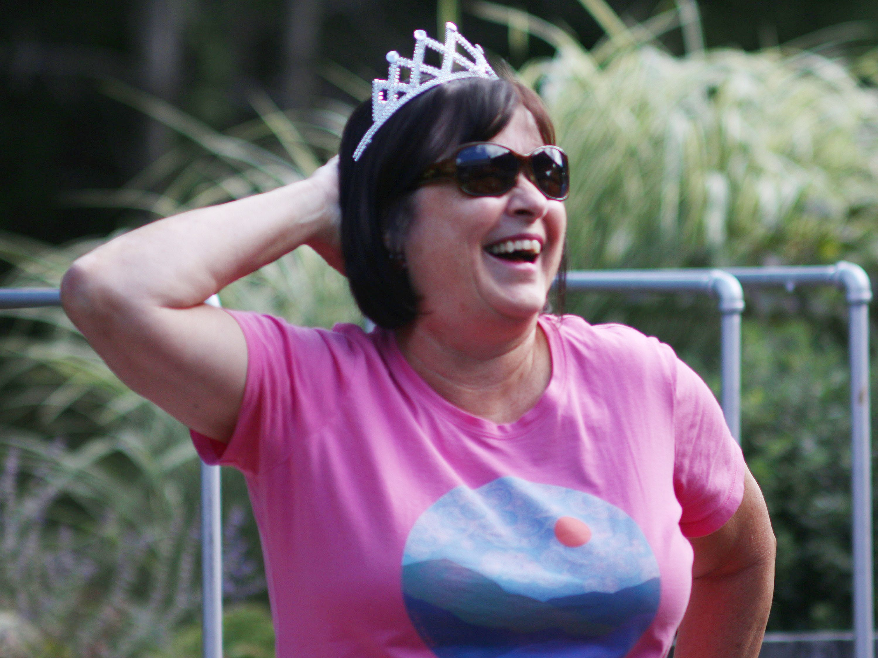 Nancy Neusen of Fond du Lac, Wis. savors  her win in the grape stomp at the Harvest Festival & Grape Stomp at The Blind Horse Restaurant and Winery, Saturday, September 22, 2018, in Kohler, Wis.