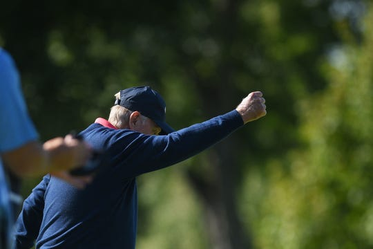 Jack Nicklaus golfs in the Sanford International tournament Saturday, Sept. 22, at the at Minnehaha Country Club.