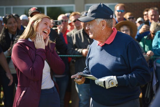 Former Sioux Falls Christina golfer Kate Wynja meets Jack Nicklaus during the Sanford International tournament Saturday, Sept. 22, at the at Minnehaha Country Club.