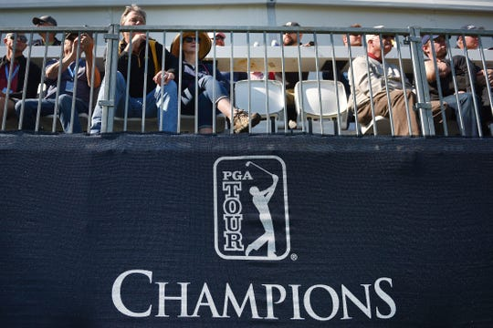 People find their seats to watch Andy North, Jack Nicklaus, Dave Stockton and Graham Marsh golf in the Sanford International tournament Saturday, Sept. 22, at the at Minnehaha Country Club.