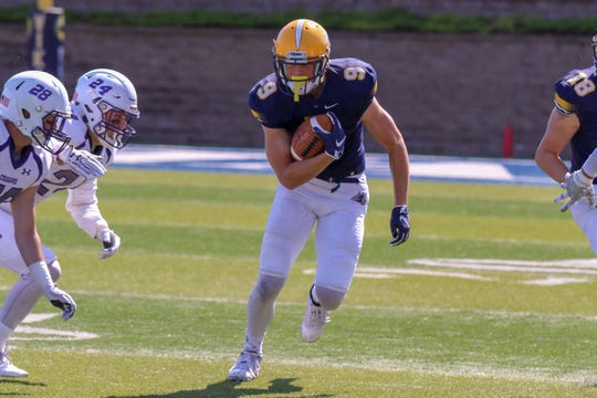 Augustana's Nickel Meyers led the NSIC with 13 touchdown catches last year.