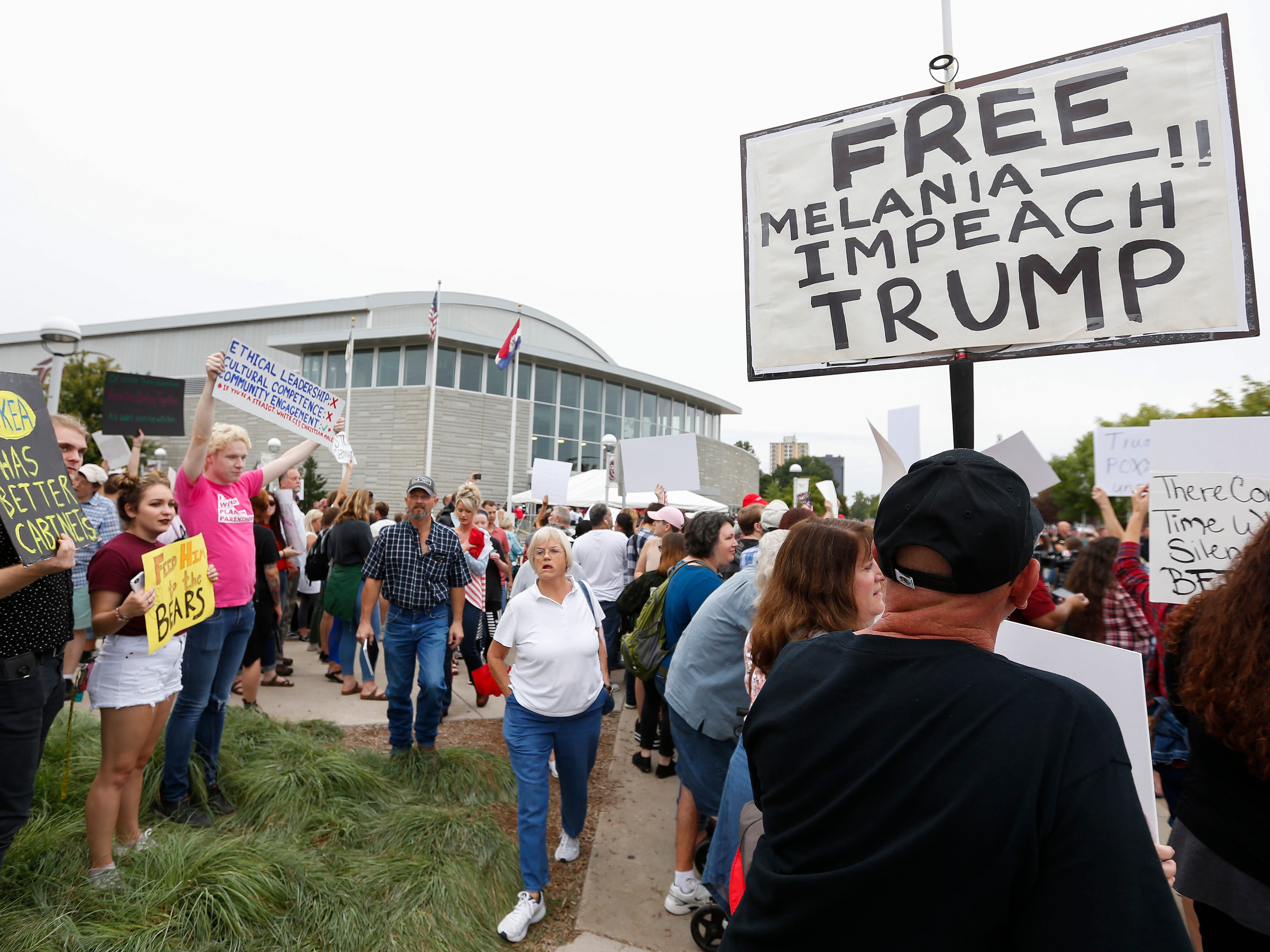 Scenes from protests outside of JQH Arena on the campus of Missouri State University where President Donald Trump was speaking on Friday, Sep. 21, 2018.