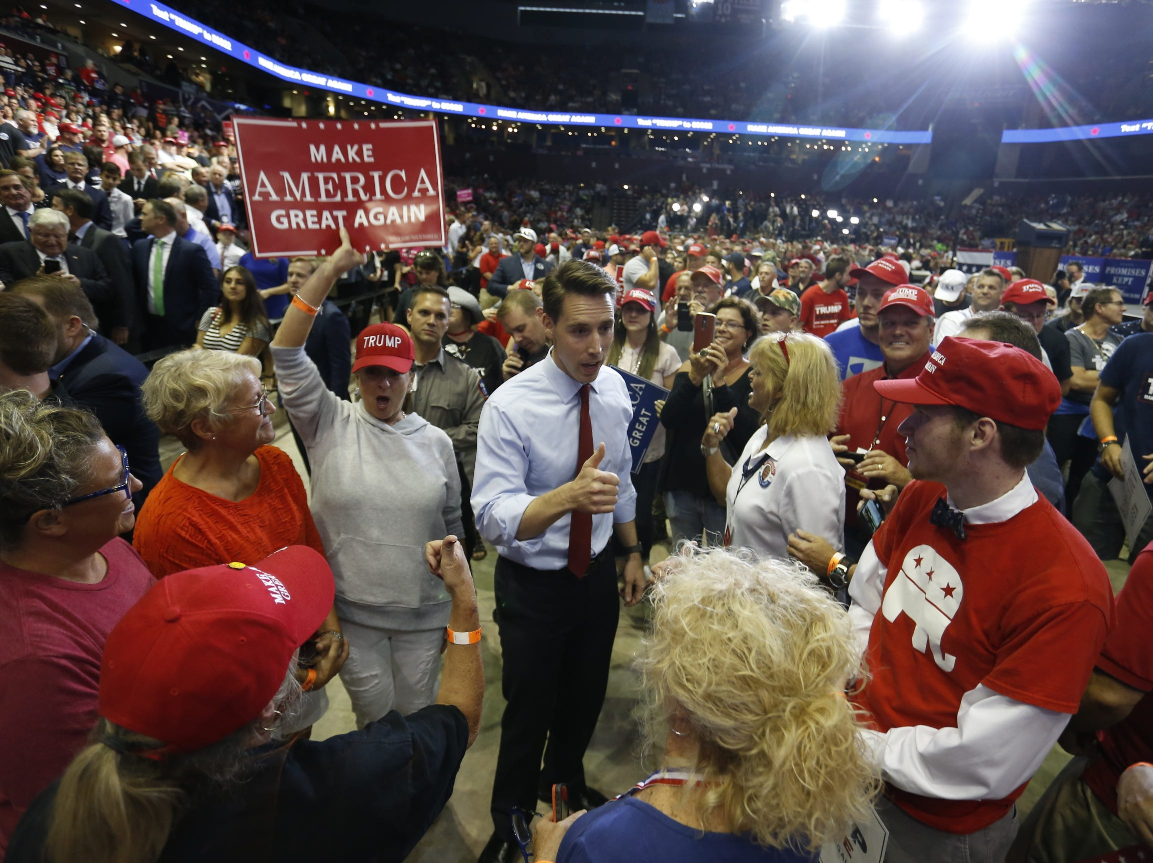 Missouri Attorney General Josh Hawley seen Friday, Sept. 21, 2018 at President Trump's rally at JQH Arena in Springfield.