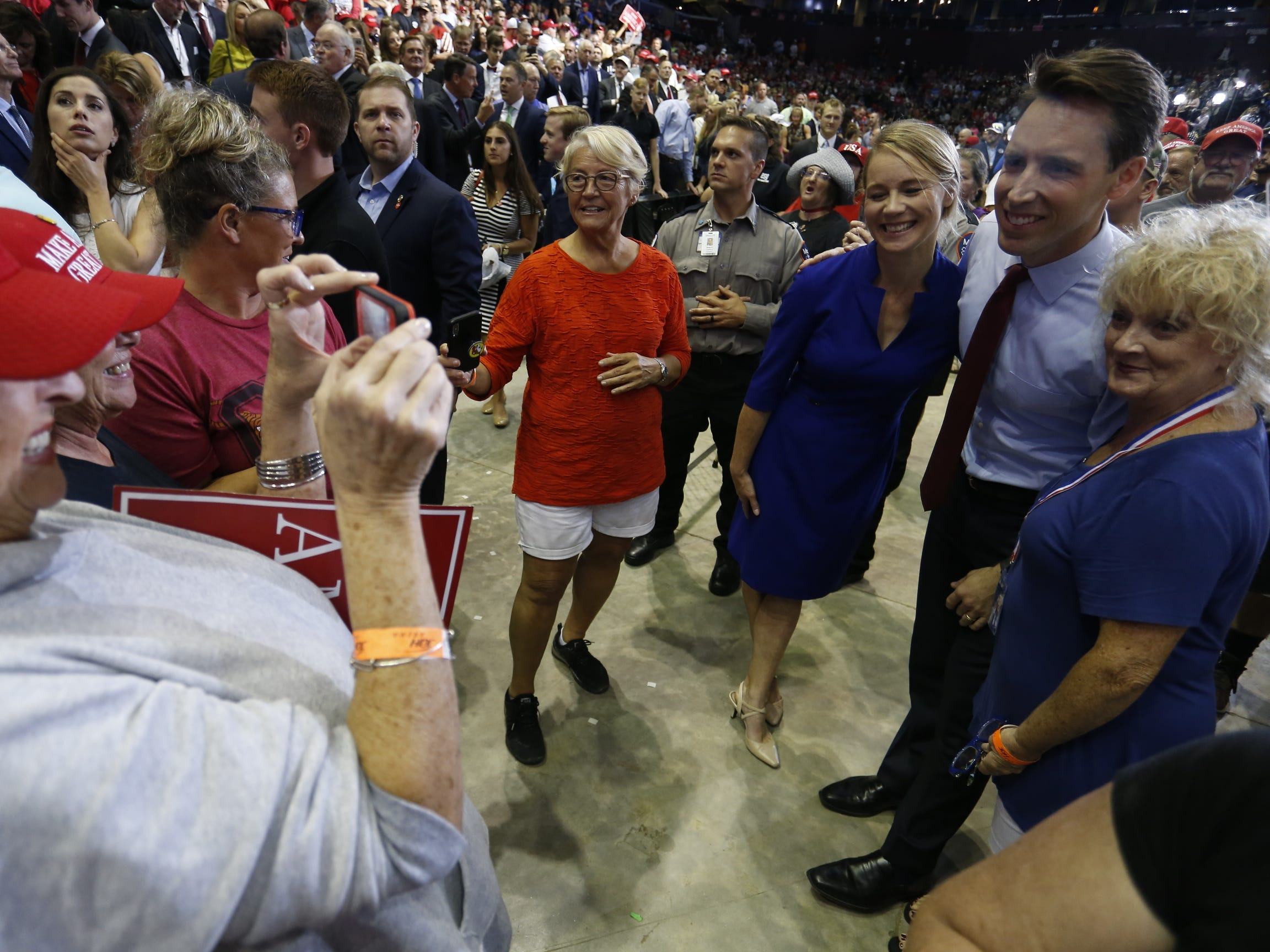 Missouri Attorney General Josh Hawley and supporters  Friday, Sept. 21, 2018 at President Trump's rally at JQH Arena in Springfield.