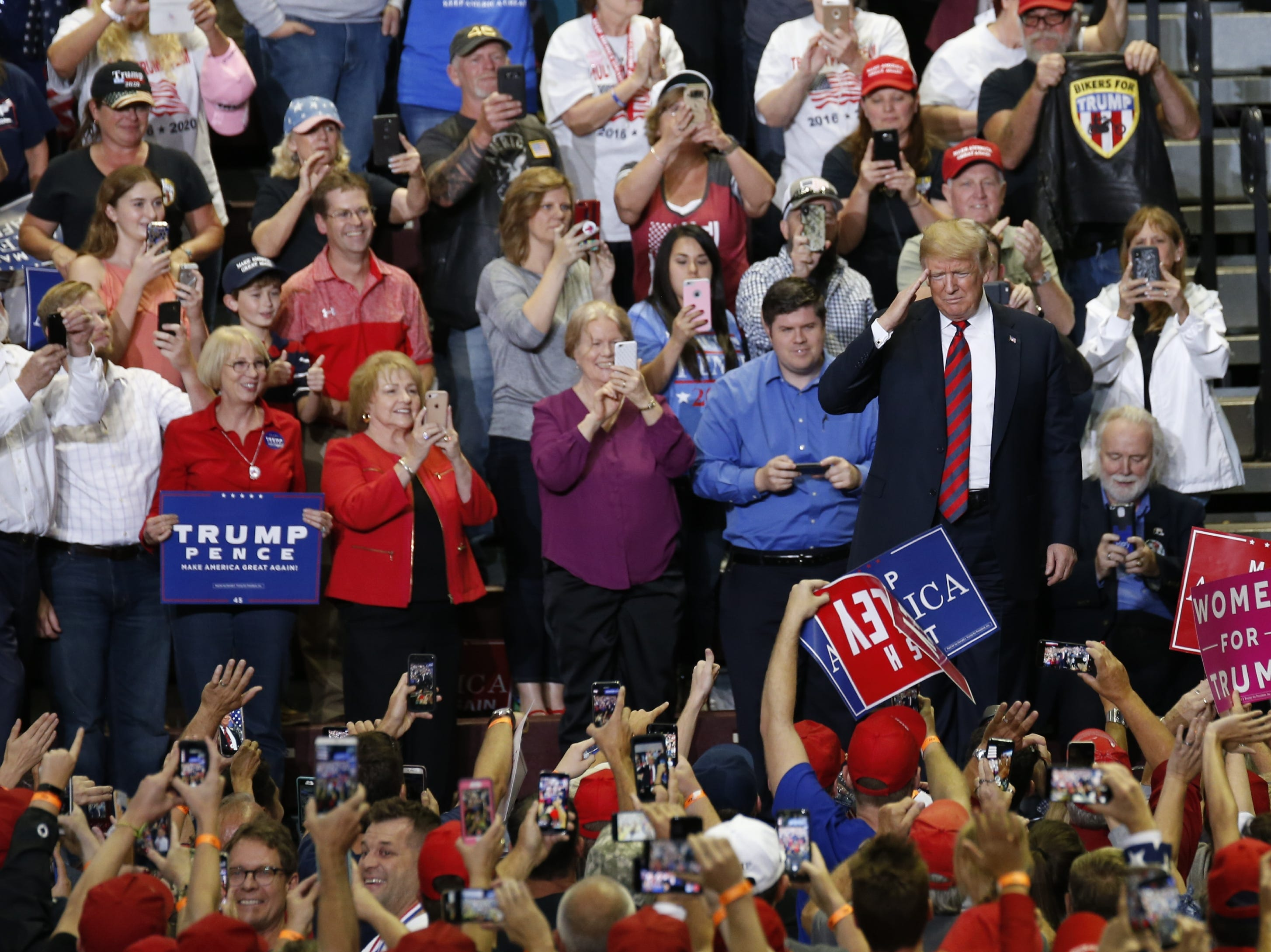President Trump and supporters Friday at JQH Arena during his rally in Springfield on Friday, Sept. 21, 2018.