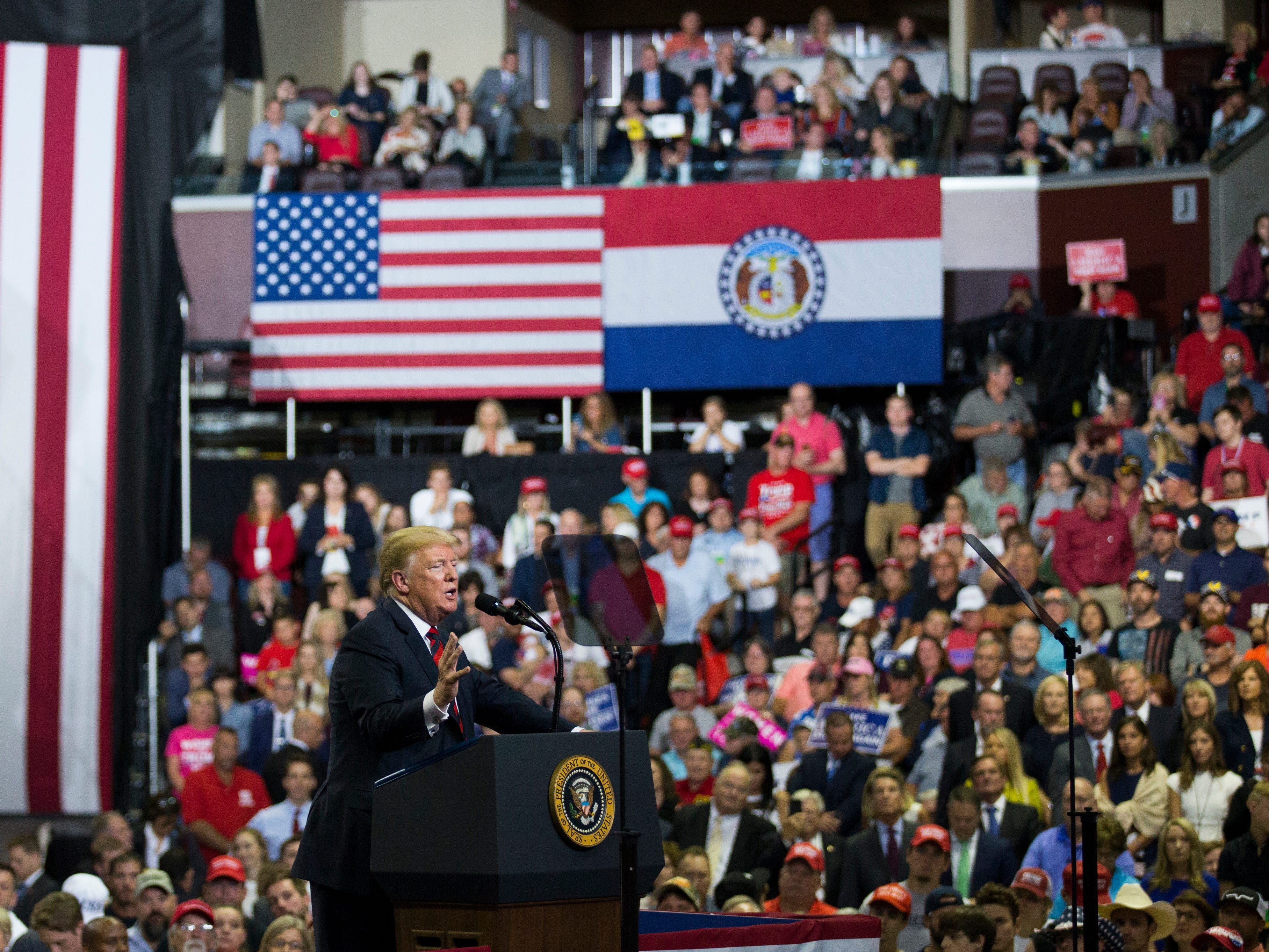 President Donald Trump speaks at a rally at JQH Arena in Springfield on Friday, Sept. 21, 2018