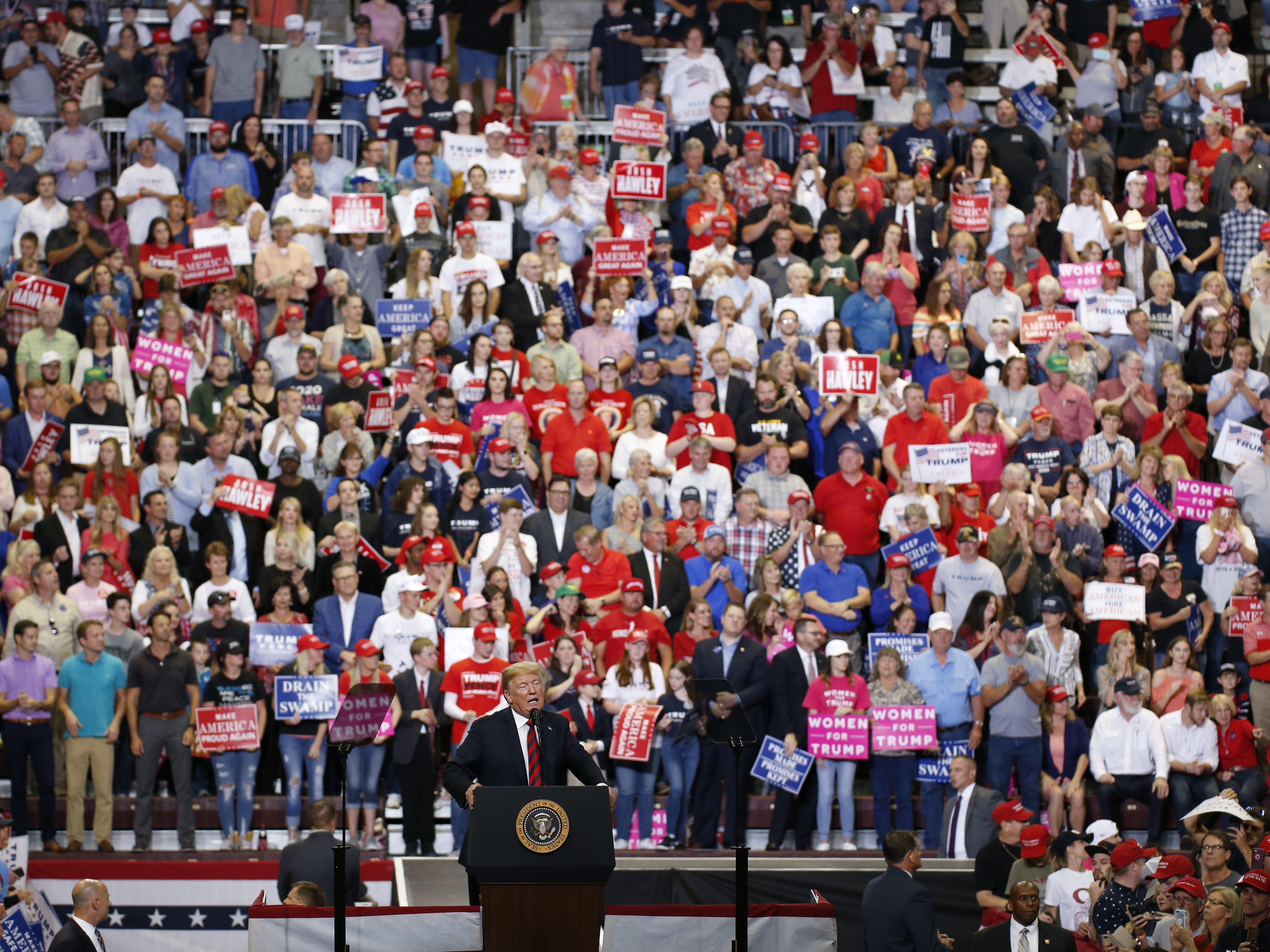 President Trump speaks to supporters Friday at JQH Arena during his rally in Springfield on Friday, Sept. 21, 2018.