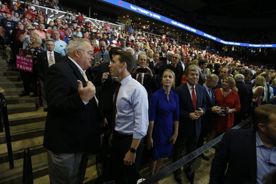 U.S. Rep. Billy Long, left, and Missouri Attorney General Josh Hawley talk Friday, Sept. 21, 2018 at President Trump's rally at JQH Arena in Springfield.