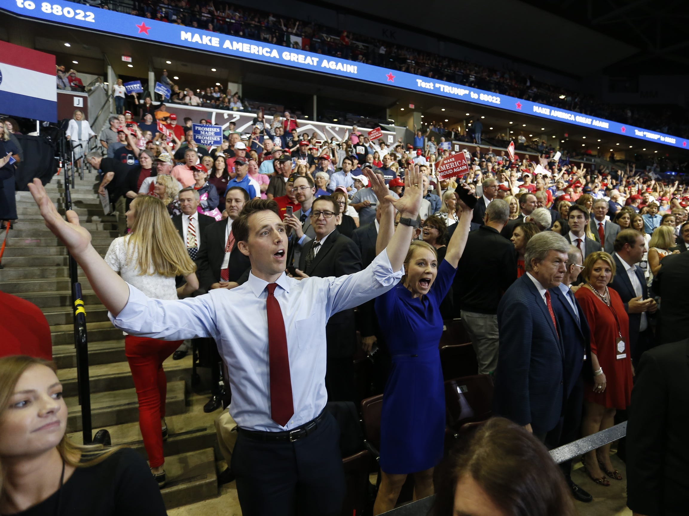 Missouri Attorney General Josh Hawley gestures Friday, Sept. 21, 2018 at President Trump's rally at JQH Arena in Springfield.