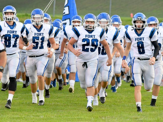Fort Defiance takes the field at Rockbridge County High School for a football game played in Lexington on Friday, Sept. 21, 2018.