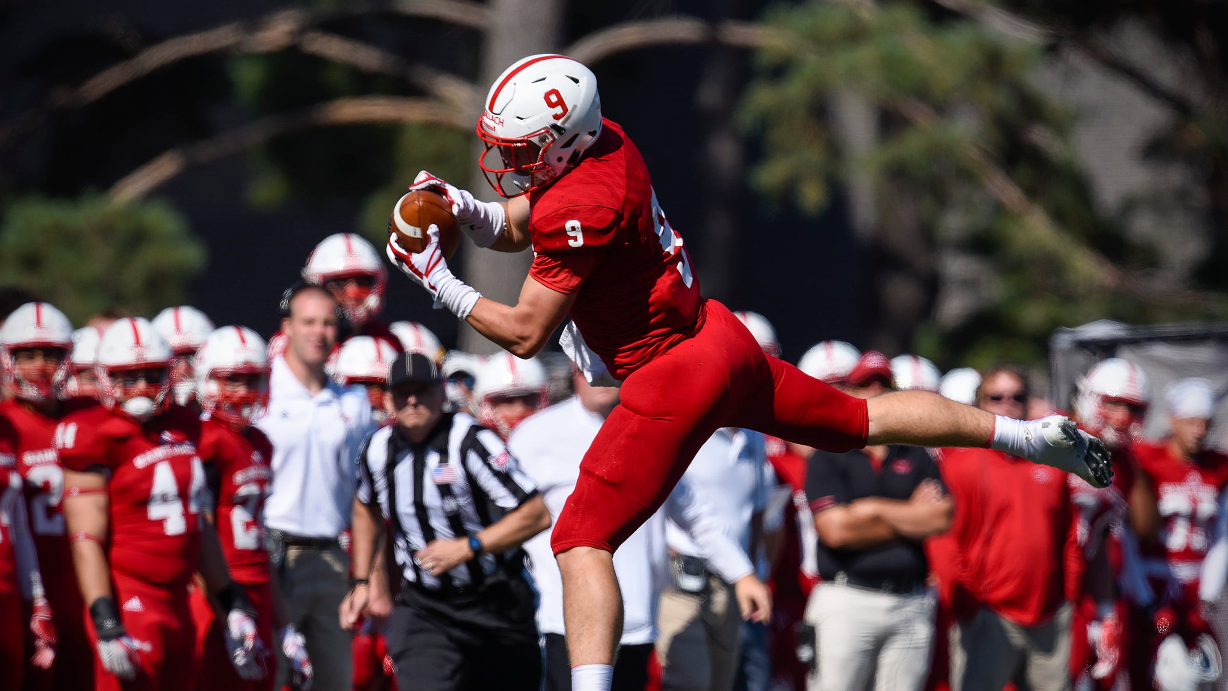 St. John's wide receiver Will Gillach goes high and pulls in a sideline pass for a first down against Carleton in the first half Saturday, Sept. 22, in Collegeville.