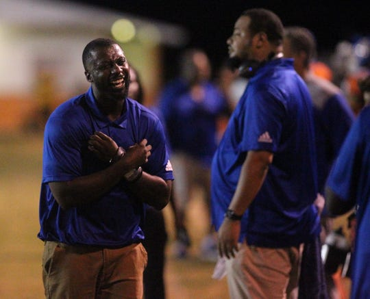 Jefferson County head coach Leroy Smith as FAMU DRS plays at Jefferson County in a high school football game on Friday, Sept. 21, 2018. The host Tigers won 25-22.