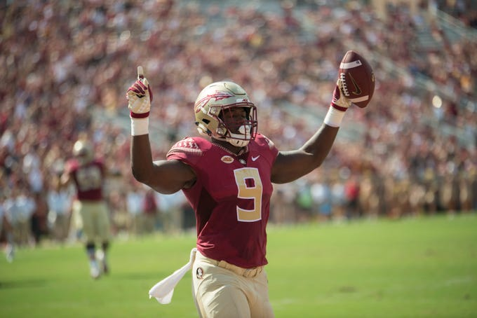 Florida State Seminoles running back Jacques Patrick (9) celebrates after scoring a touchdown during a game between the Florida State University Seminoles and the Northern Illinois University Huskies at Doak S. Campbell Stadium in Tallahassee, Fla. Saturday, September 22, 2018.