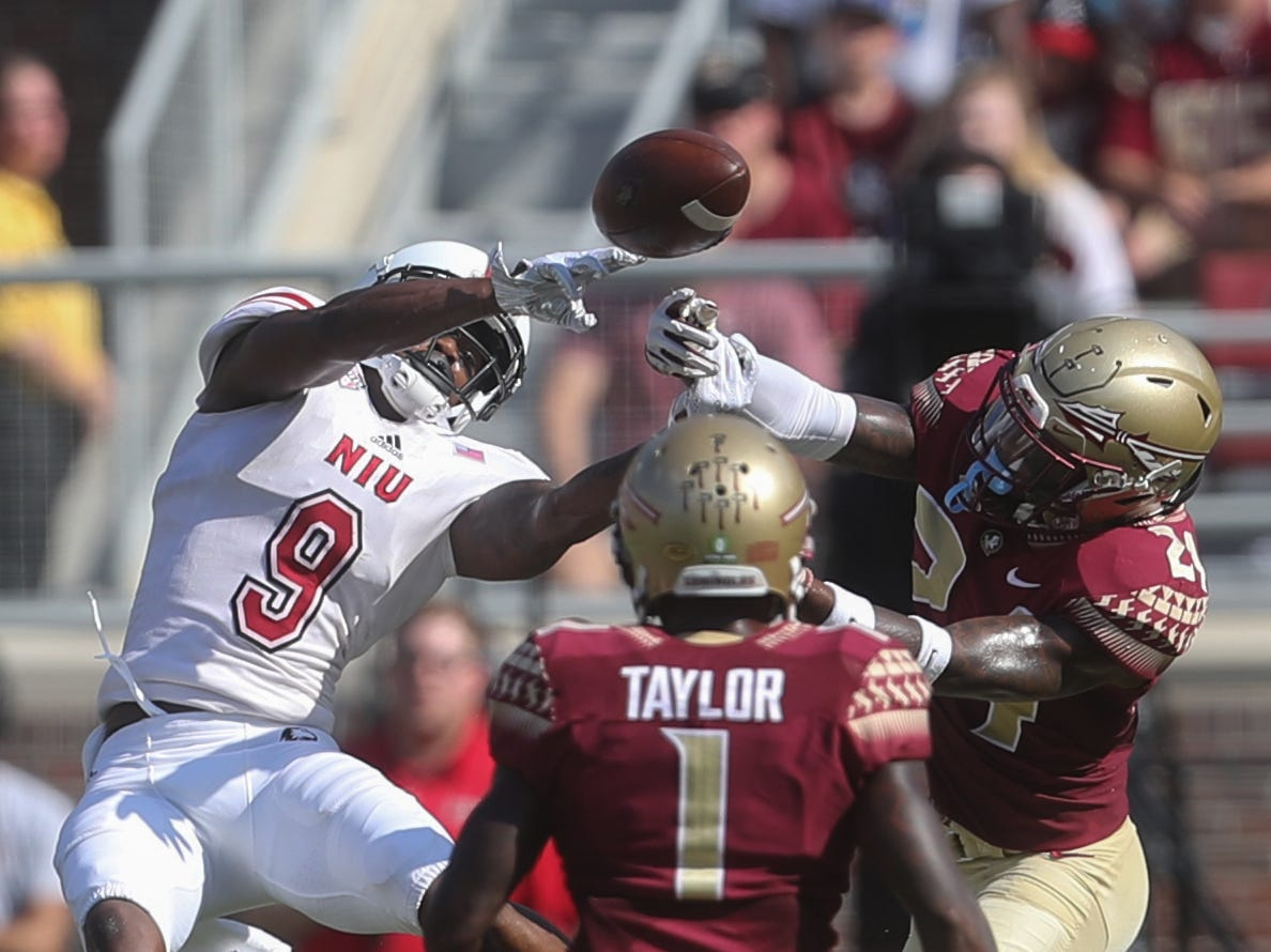 Northern Illinois Huskies wide receiver Jauan Wesley (9) and Florida State Seminoles defensive back Cyrus Fagan (24) go up for a catch during a game between the Florida State University Seminoles and the Northern Illinois University Huskies at Doak S. Campbell Stadium in Tallahassee, Fla. Saturday, September 22, 2018.