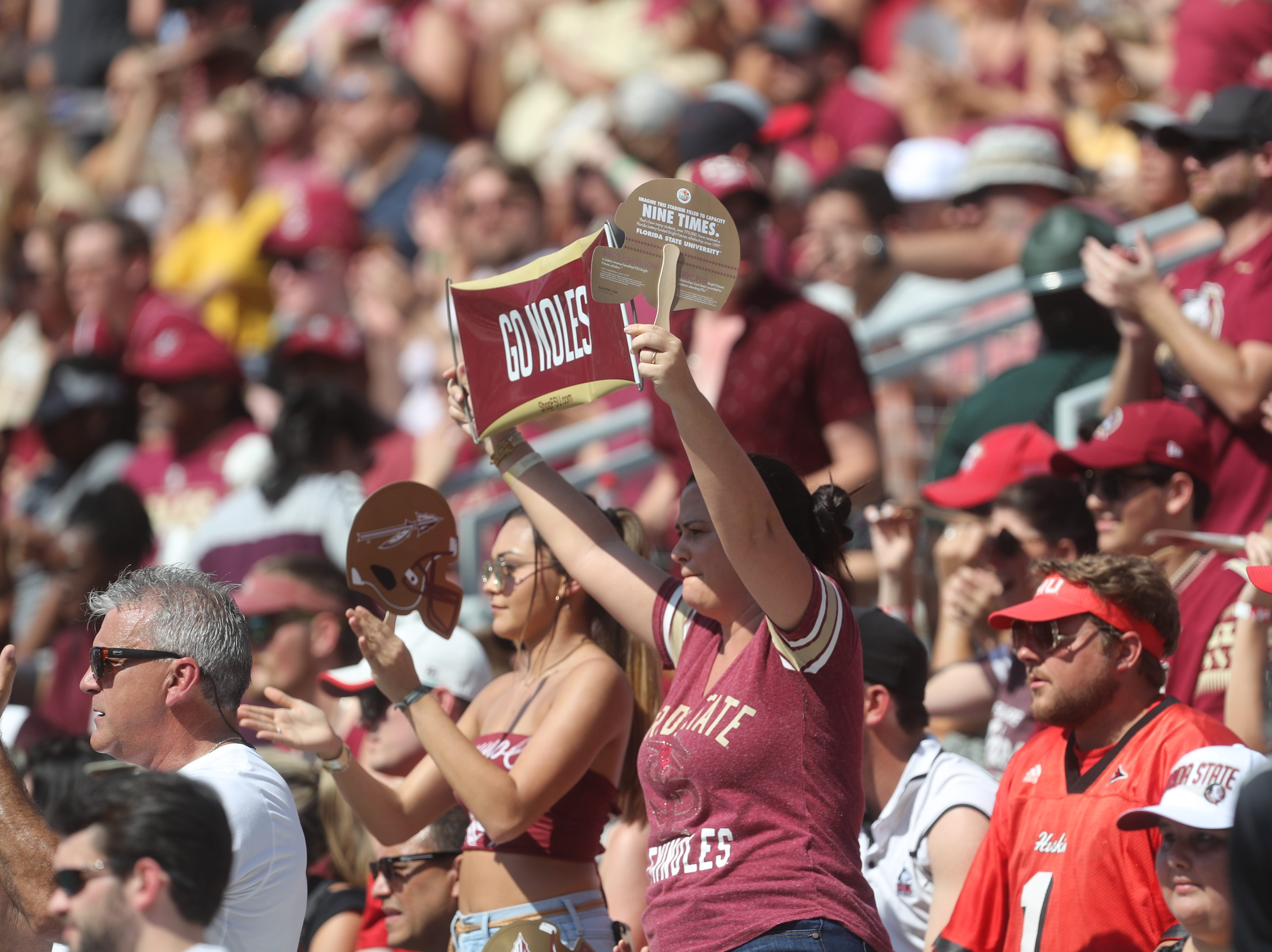 Fans cheer during a game between the Florida State University Seminoles and the Northern Illinois University Huskies at Doak S. Campbell Stadium in Tallahassee, Fla. Saturday, September 22, 2018.