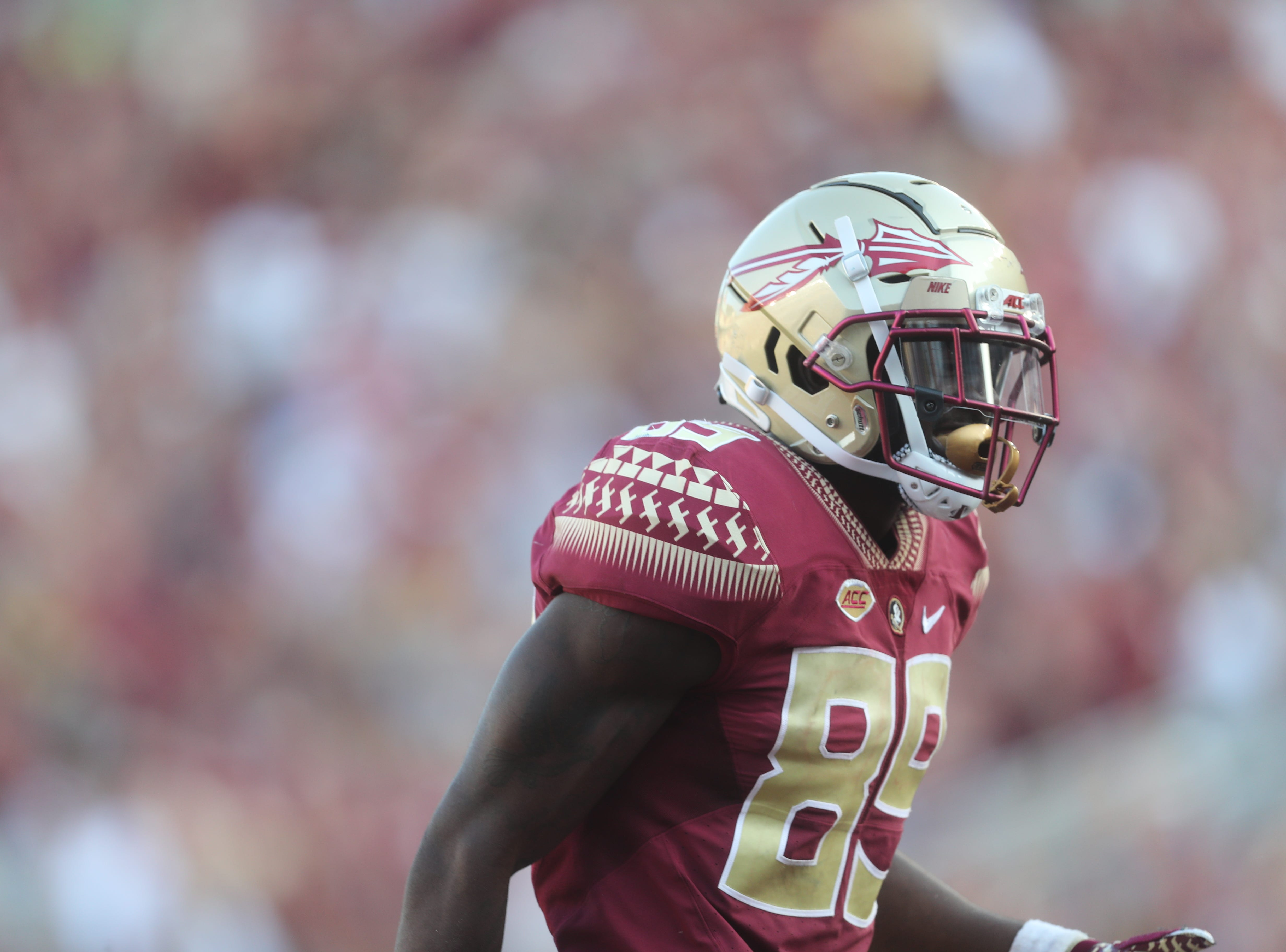Florida State Seminoles wide receiver Keith Gavin (89) celebrates during a game between the Florida State University Seminoles and the Northern Illinois University Huskies at Doak S. Campbell Stadium in Tallahassee, Fla. Saturday, September 22, 2018.