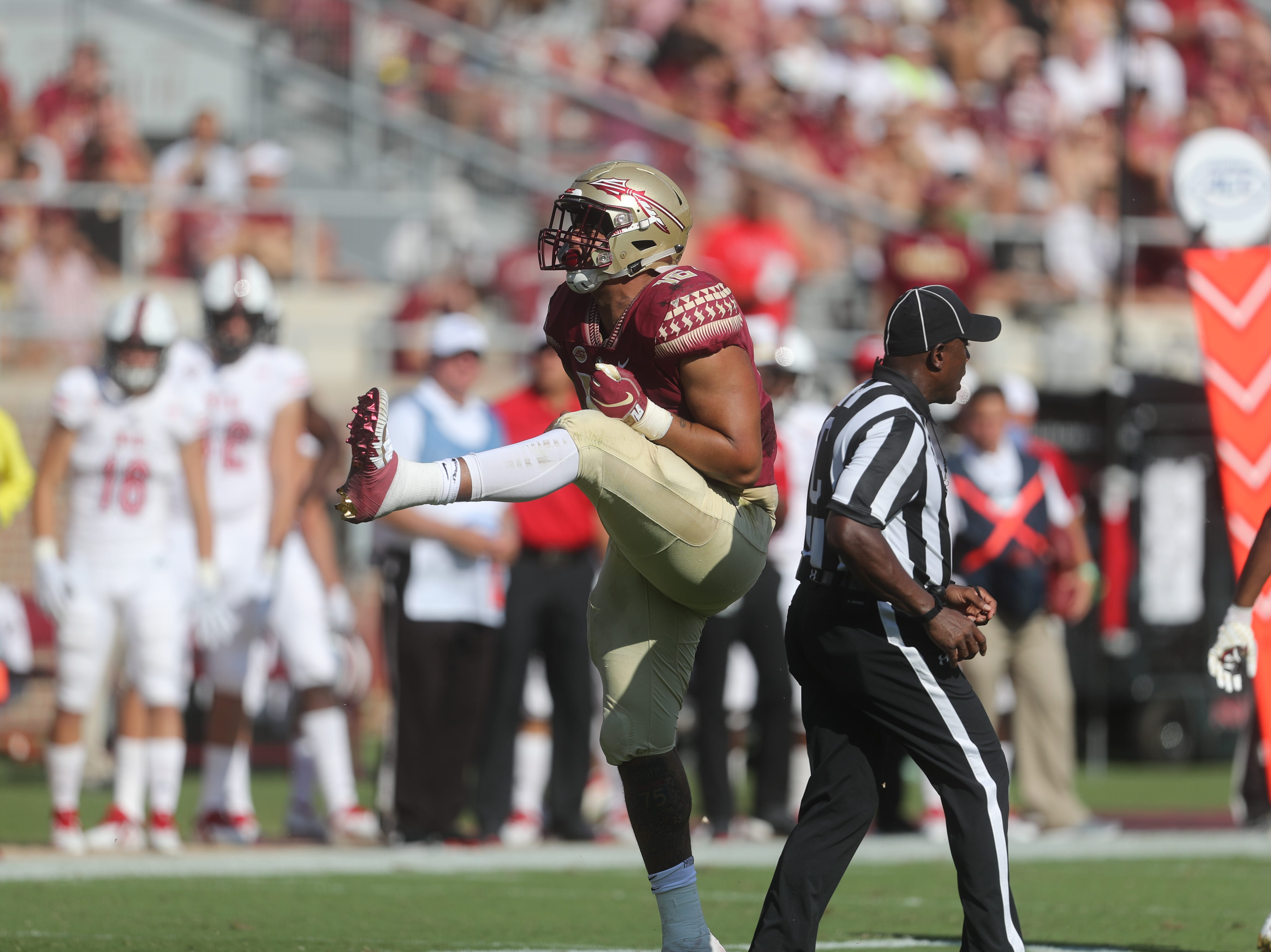Florida State Seminoles defensive tackle Cory Durden (16) celebrates during a game between the Florida State University Seminoles and the Northern Illinois University Huskies at Doak S. Campbell Stadium in Tallahassee, Fla. Saturday, September 22, 2018.