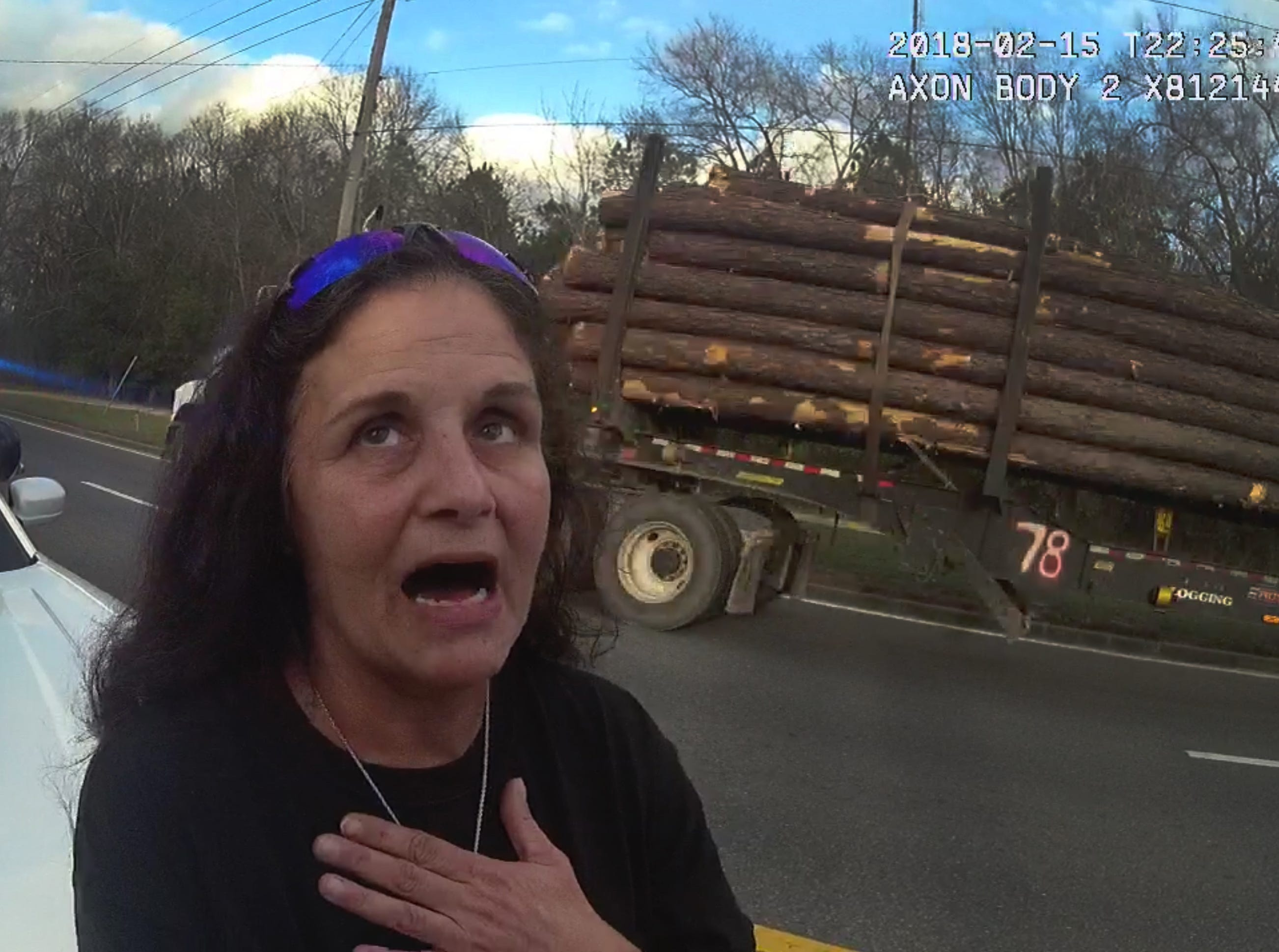 Teresa Odom reacts in shock as Deputy Zachary Wester says he found drugs in her truck during a traffic stop in Cottondale earlier this year.