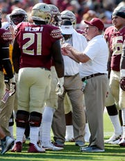 Sep 22, 2018; Tallahassee, FL, USA; Florida State Seminoles defensive coach Mickey Andrews talks to players during the first quarter of play at Doak Campbell Stadium. Mandatory Credit: Glenn Beil-USA TODAY Sports