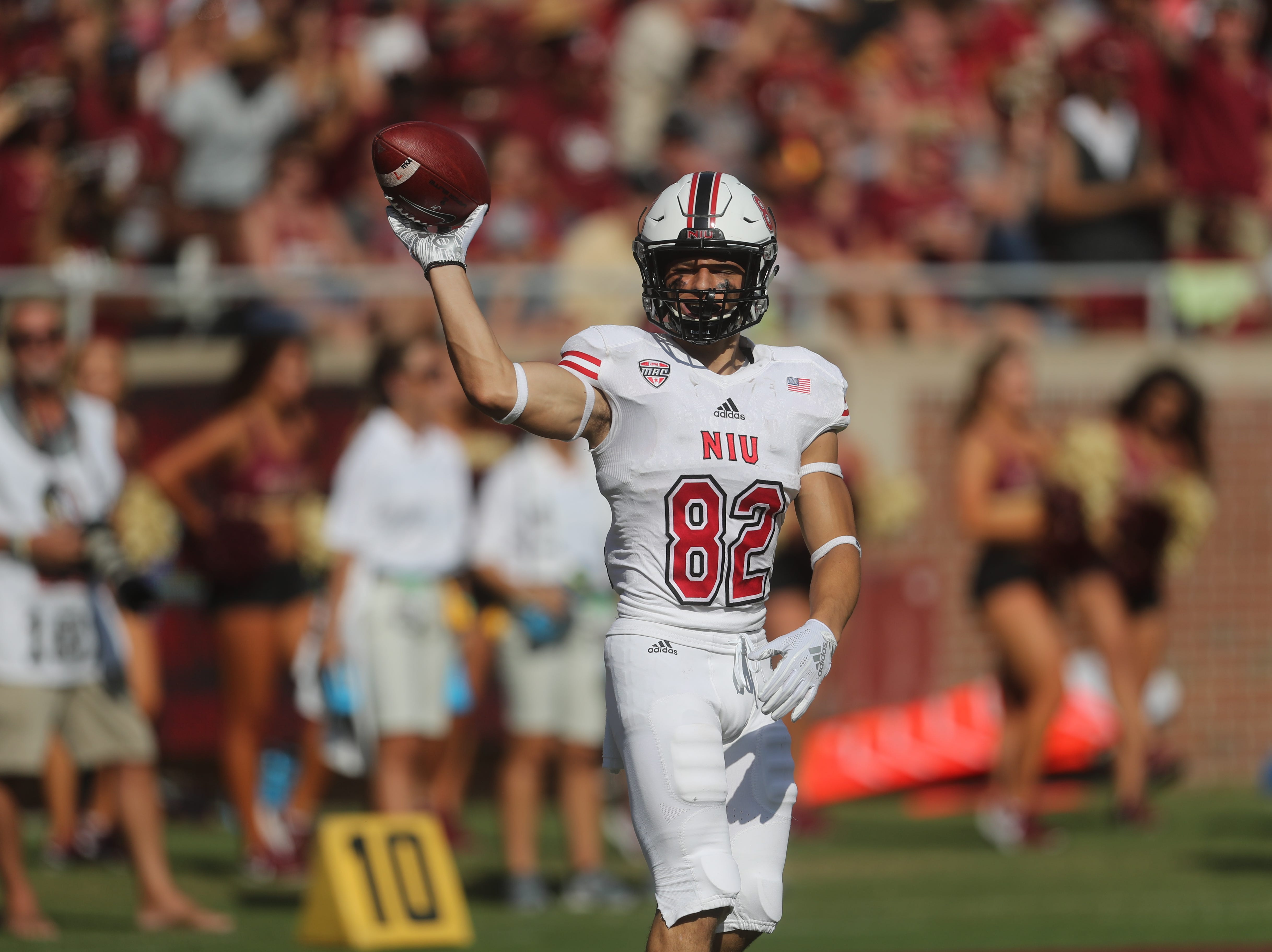 Northern Illinois Huskies wide receiver Fotis Kokosioulis (82) during a game between the Florida State University Seminoles and the Northern Illinois University Huskies at Doak S. Campbell Stadium in Tallahassee, Fla. Saturday, September 22, 2018.
