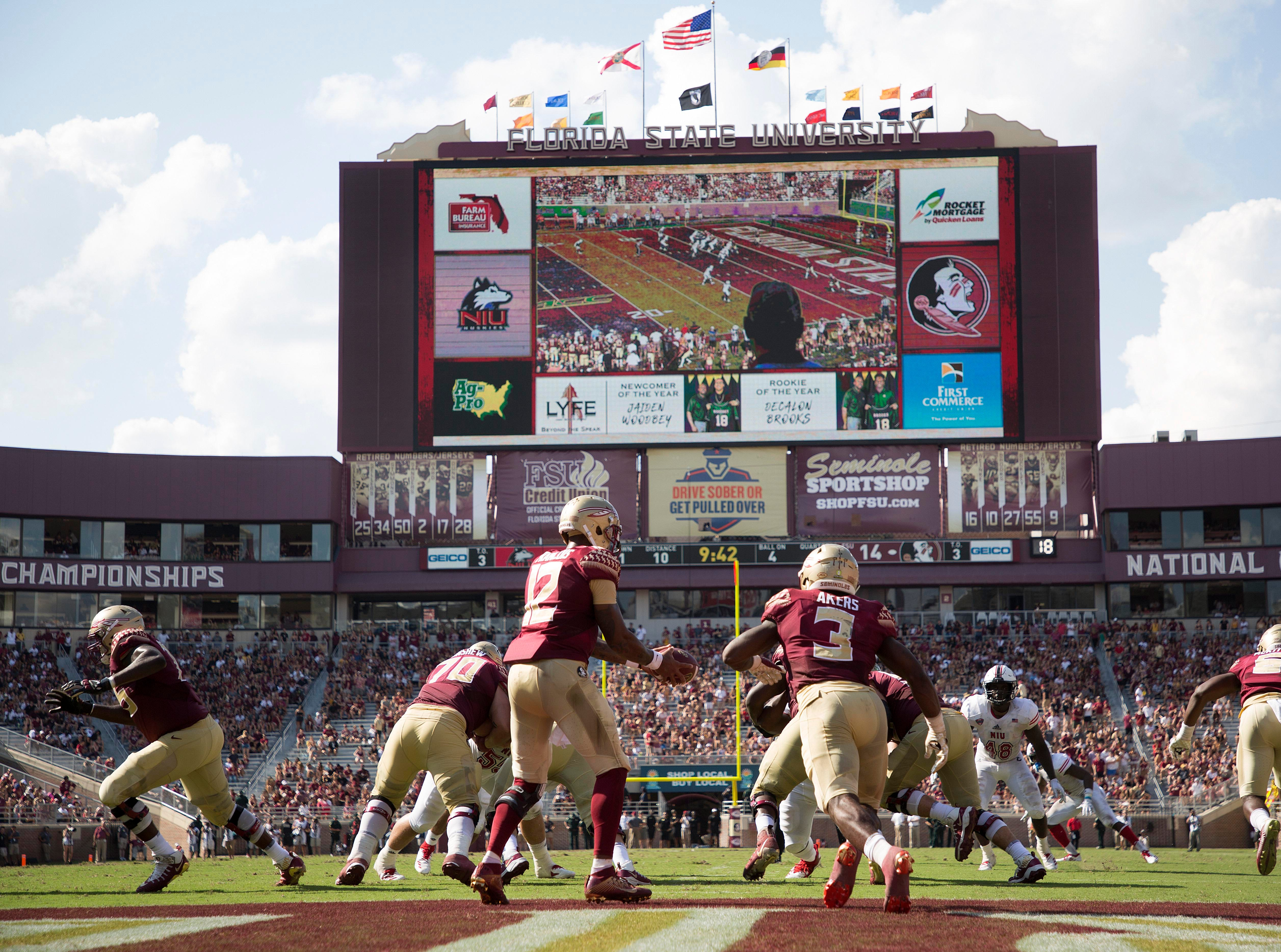 Sep 22, 2018; Tallahassee, FL, USA; The Florida State Seminoles start a drive from deep in their own territory against the Northern Illinois Huskies during the second quarter of play at Doak Campbell Stadium.
