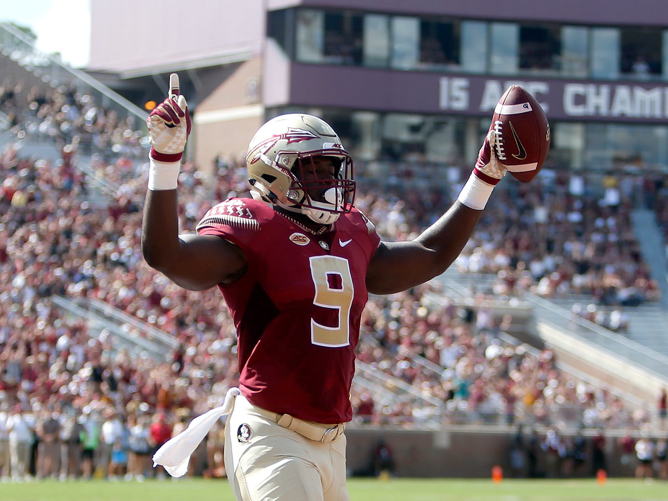 Sep 22, 2018; Tallahassee, FL, USA; Florida State Seminoles running back Jacques Patrick (9) celebrates a touchdown during the first quarter of play at Doak Campbell Stadium.