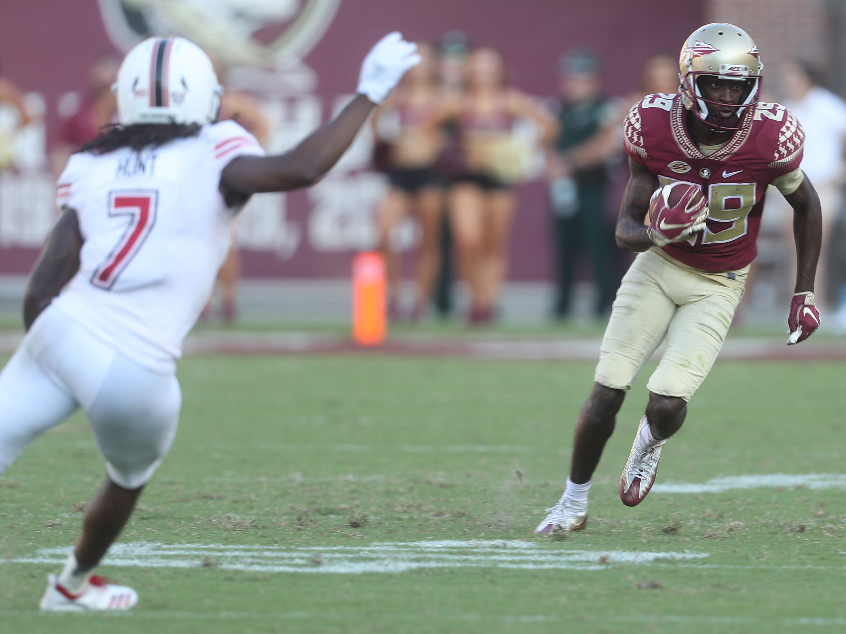 Florida State Seminoles wide receiver D.J. Matthews (29) runs the ball during a game between the Florida State University Seminoles and the Northern Illinois University Huskies at Doak S. Campbell Stadium in Tallahassee, Fla. Saturday, September 22, 2018.