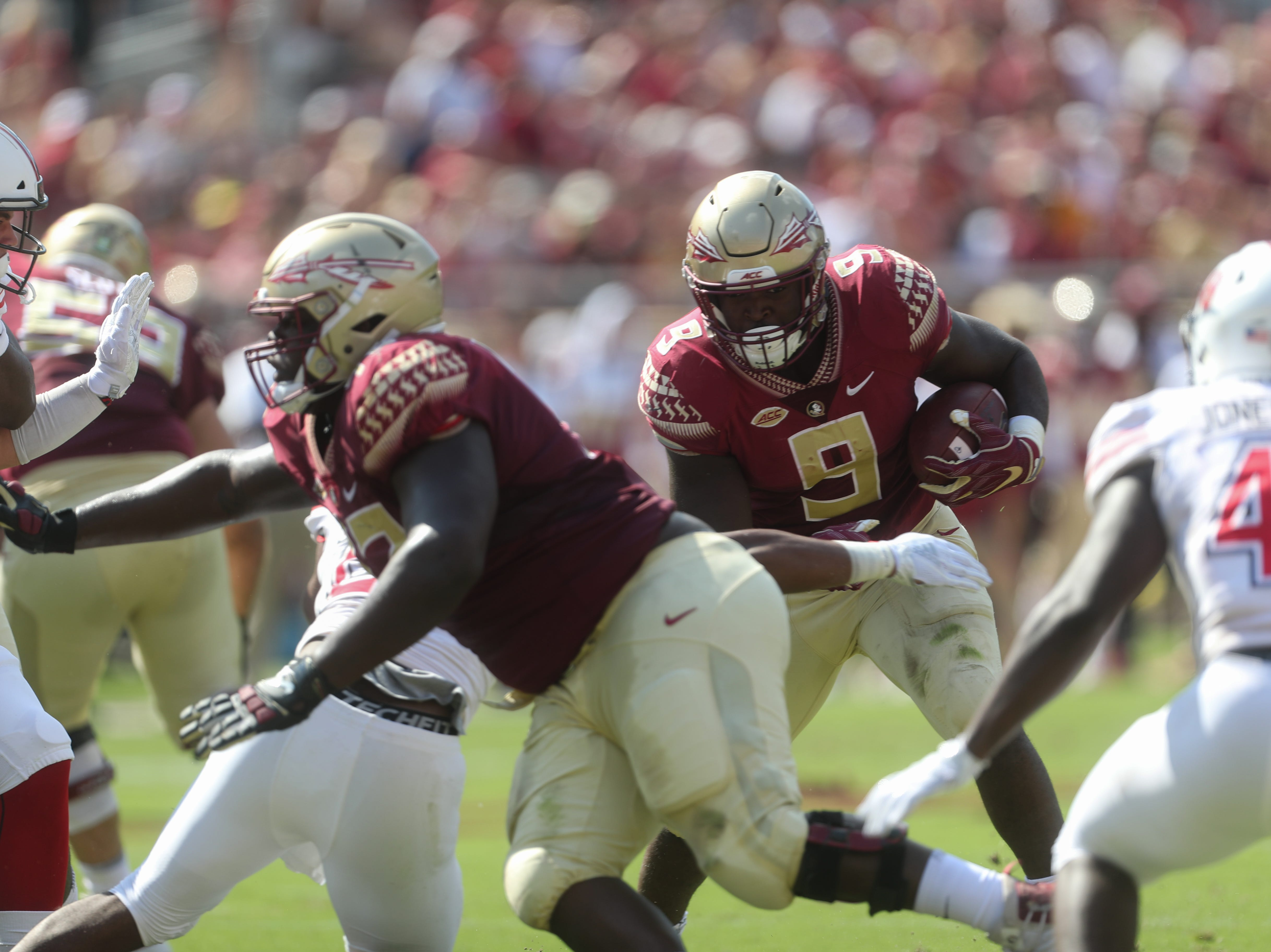 Florida State Seminoles running back Jacques Patrick (9) runs the ball during a game between the Florida State University Seminoles and the Northern Illinois University Huskies at Doak S. Campbell Stadium in Tallahassee, Fla. Saturday, September 22, 2018.