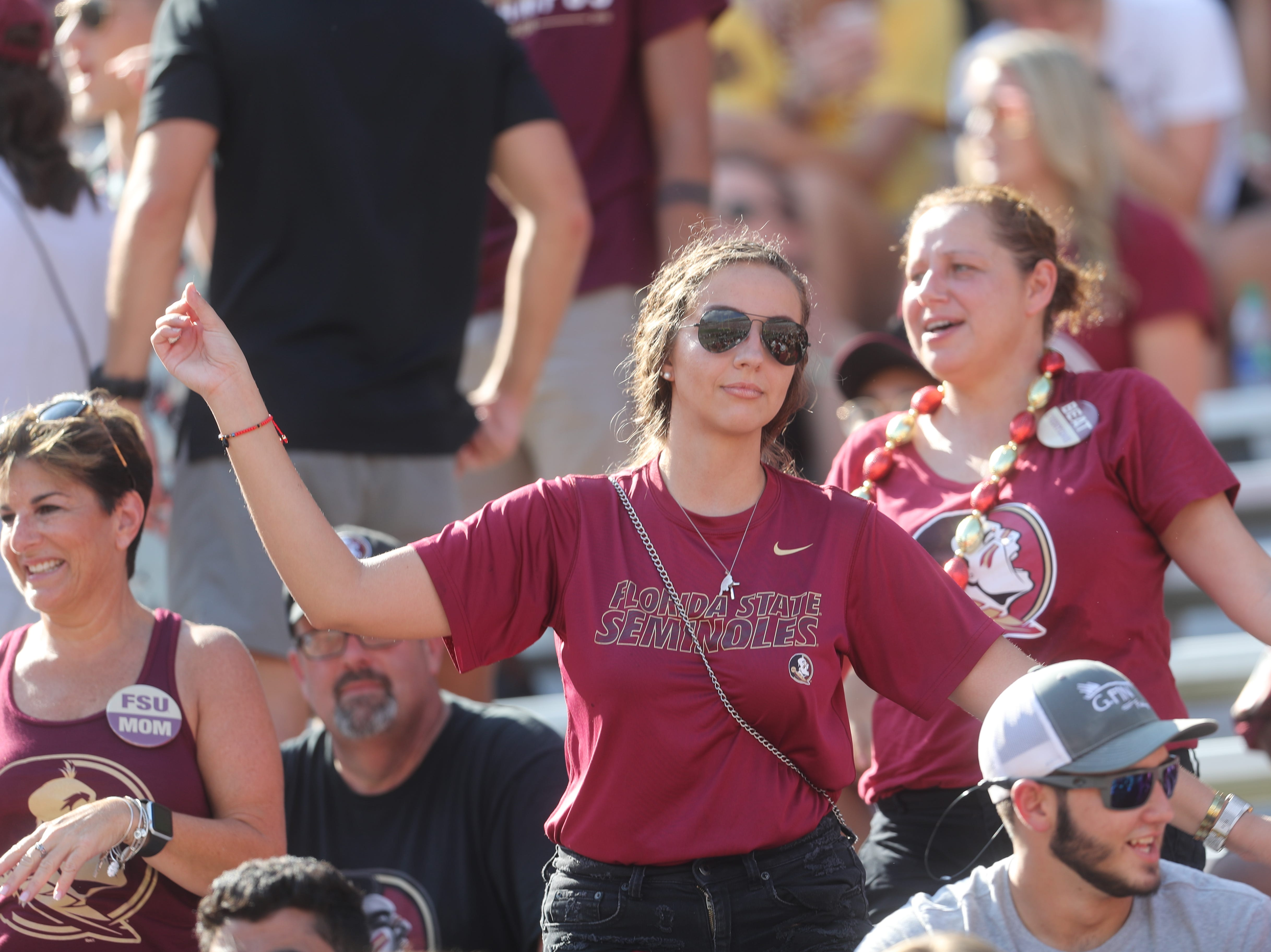 Fans dance during a game between the Florida State University Seminoles and the Northern Illinois University Huskies at Doak S. Campbell Stadium in Tallahassee, Fla. Saturday, September 22, 2018.