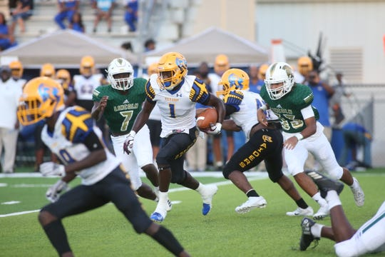 Lincoln faces Rickards in a high school football game at Gene Cox Stadium on Friday, Sept. 21, 2018.