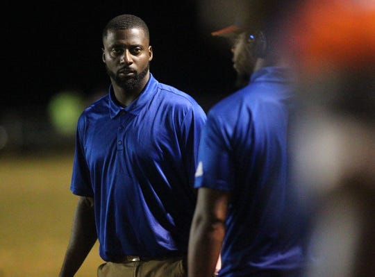 Jefferson County coach Leroy Smith watches his team during Friday's 25-22 win over FAMU DRS.