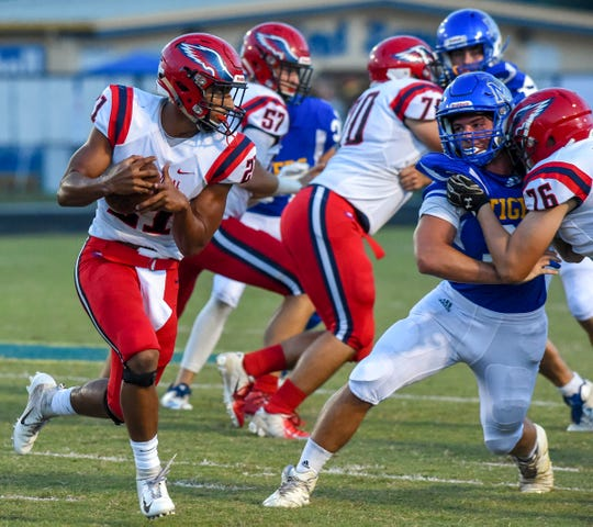 Martin County faced off against St. Lucie West Centennial Friday, Sept. 21, 2018, during their high school football game at Martin County High School in Stuart.