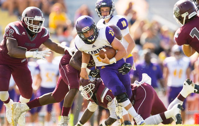 Fort Pierce Central's Jaden Meizinger runs the ball against Fort Pierce Westwood's defense in the first half of their game at the Calvin Triplett Field at Lawnwood Stadium on Saturday, September 22, 2018 in Fort Pierce. To see more photos, go to TCPalm.com.