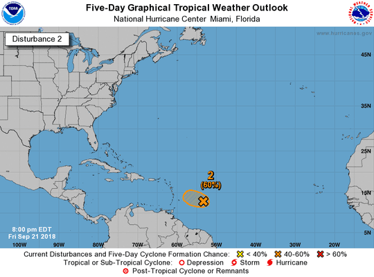 A system east of the Caribbean Sea has shot up to a 60 percent chance of development Friday, Sept. 21, 2018.