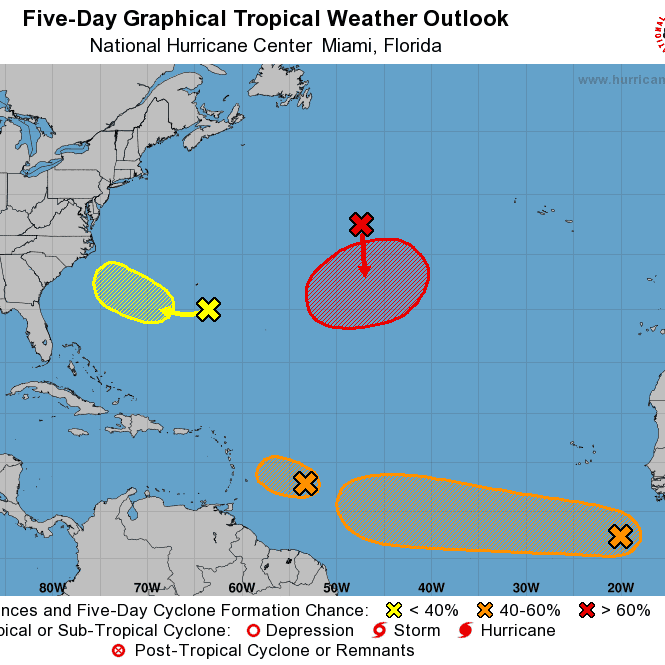 Four tropical systems swirl in the Atlantic