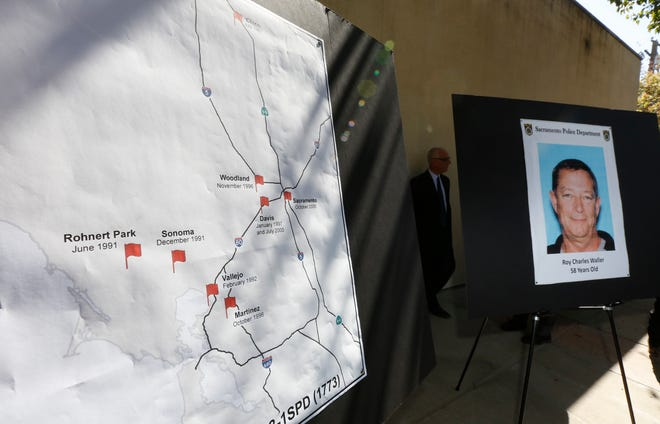 A map, left marks where a series of rapes in Northern California occurred starting in 1991, is displayed during a news conference Friday in Sacramento. Suspect Roy Charles Waller, 58, seen in photo at right, was taken into custody in Berkeley by Sacramento police on Thursday.