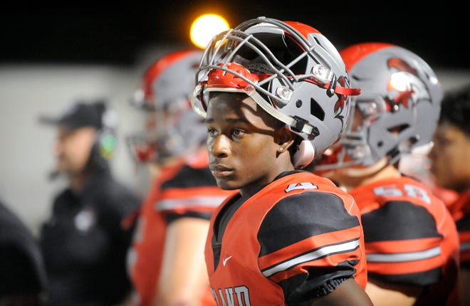 Vineland WR, Otis Harold (4) watches a play against Timber Creek. The Fighting Clan lost to the visiting Chargers 24-10 on Friday, September 21.